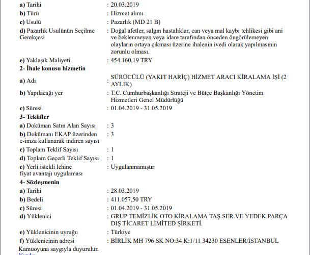 'SARAYIN ARAÇ ALIMI İHALESİ DE 21/B'DEN YANDAŞA'